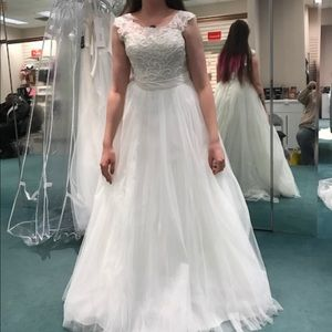Tulle Wedding Dress with Lace Illusion Neckline.